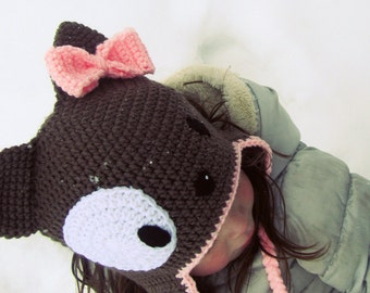Puppy Hat Crochet size Newborn to Tween