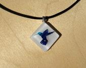 Hummingbird Etched Glass Pendant - Purple and Blue Diamond