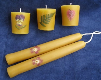 Beeswax Candle Gift Box - Flowers - 2 tapers and 3 votives