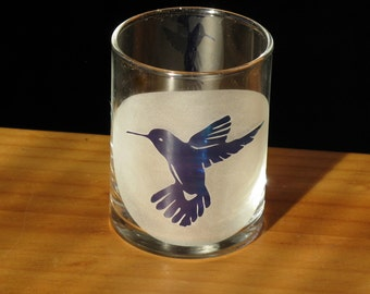 Hummingbird - Etched Glass Votive Cup