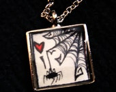 Spider Love silver tile pendant with sketch inside