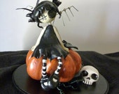 Lizzy the little Pumpkin Goth Pixie handmade sculpted polymer clay figurine with metal wings