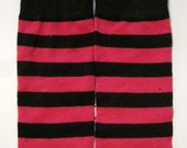 CLEARANCE SALE Pink and Black Striped Baby Leg Warmers Fits Most Infants Toddlers and Children