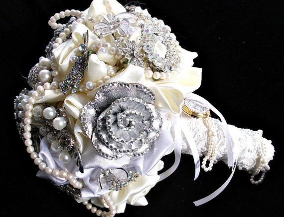 alternative wedding,  brooch Bridal bouquet, jeweled crystal rhinestone Bridal bouquet