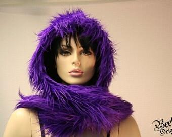 Plush Purple Hoodie Hat