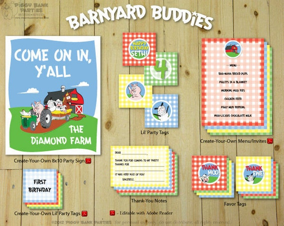 BARNYARD BUDDIES Collection - Printable Party Décor