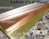 SHEET METAL-Large 4 by 6 inch Piece 22g in rich low brass For all your Metal Jewelry and Blanks