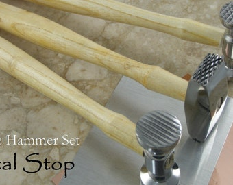 TEXTURE KIT- Set of THREE Texture Hammers with metal to Practice on Great Variety of textures with these