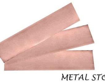 "Set of Three Copper Bracelet Cuff Blanks - 6"" x 1.25"" - 24 gauge"