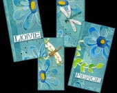 Domino Dragonfly Dreams Digital Collage Sheet 1 x 2 inch and 2 x 4 inch.  Art 4 glass tile pendants AJR-002, modern flower peace blue white