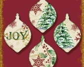 INSTANT DOWNLOAD Christmas Love Joy Peace Digital Collage Sheet shaped gift tags  Etsy-Ajr-009 scrapbooking embellishments tree snowflake