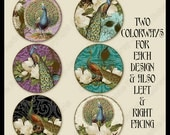 Digital Peacocks 1.5 inch Circle Collage, Vintage Magnolias,  AJR-347, peacock feathers damask for pendants cabochons cards