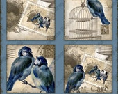 Vintage Love Birds 1 inch and .85 inch Square Collages AJR-356E blue birds branch stamp postage postcard  bird cage birdcage nest eggs tan