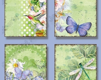 Digital Images Watercolor Hummingbird Dragonfly 2 in square collage sheet, AJR-025 dragonflies daisy blue hydrangeas gift tag