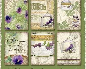 Digital Sweet Tea Original Art ATC Card Collage Sheets AJR-006 Atc tea pot cup purple pansy pansies swirls altered art rectangles