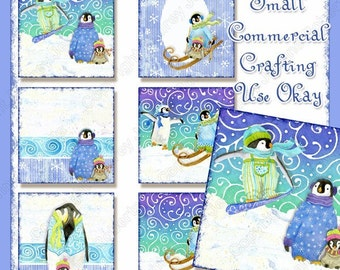 Digital Christmas Playful Penguins Images Collage Sheet 2 inch square tag AJR-268 whimsical snowboarding ski skiing penguin snow