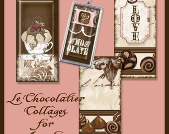 Chocolate Candy Digital Domino Size 1x2 in glass pendant Collage Sheet AJR-118 glass tile designs chocolate candy cake swirl