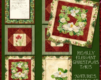 Digital Christmas Gift Tags Magnolia Wreath Berry Pine AJR-221, Digital Collage Sheets 2 inch square cones amaryllis classic holiday