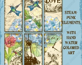 Hummingbird Digital Collage Sheets Domino glass pendant, AJR-092, blue hydrangea hummingbirds chandelier tulip peony bicycle