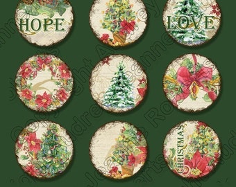 Watercolor Christmas 1 inch circle bottlecap round Love Joy Peace Digital Collage Sheet AJR-018 bottle cap pendant tree snowflake poinsettia