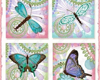 Digital Dragonfly Butterfly Modern Cute 2, 1.5, 1 in square collage sheet AJR-304 hot pink aqua lime green scrabble blue dragonfly inchie