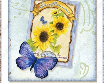 Digital Tags Sunflower Swirl 4 in square coaster size collage sheet AJR-309 sunflowers daisy daisies blue butterfly watering can garden