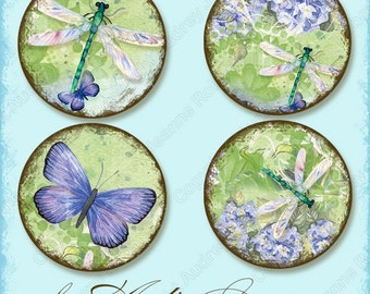 1 inch circle digital collage sheet, AJR-338 daisy bottle cap art, hummingbird blue butterfly, dragonfly, hydrangeas