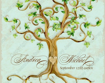 Swirl Tree Roots Weddings Decoration Digital Sheet AJR-351 Wall art print yourself personalized bride groom names and date Robin's Egg Blue