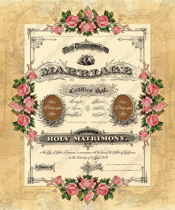 Items Similar To Personalized Marriage Certificate For