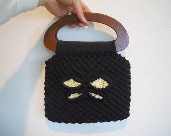 Vintage Crocheted Purse // 70's Handbag // Macrome Handbag