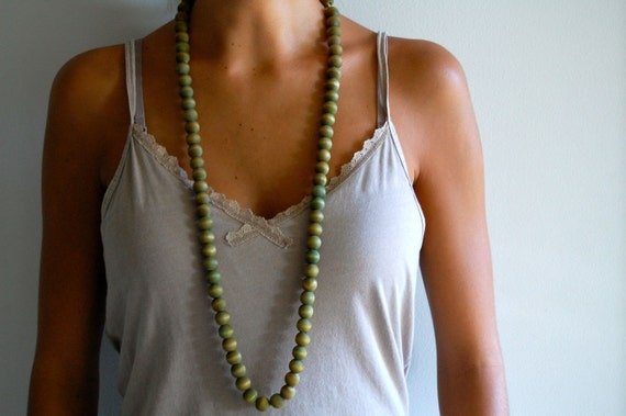 Green Bead Layering Necklace