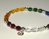 Silver Chakra Bracelet with Czech faceted glass crystals stretch 314.1