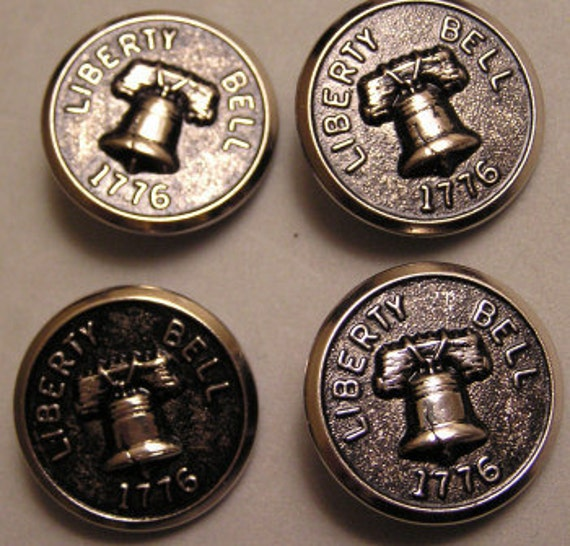 Vintage  Metal Buttons Liberty Bell 1776 Lot 4 Matched Set