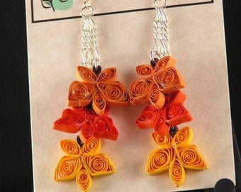 Fall Earrings - Three Leaves - pumpkin, orange, and bright yellow