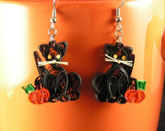 Halloween Black Cat Earrings