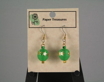 Green Christmas Ball Earrings