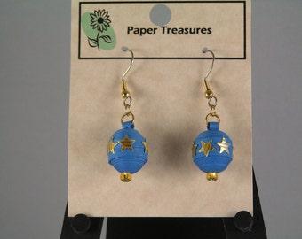 Blue Christmas Ball Earrings