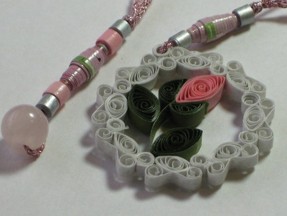 Pink Rosebud Bookmark