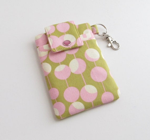 iPod Touch Case in Olive Green and Pink, iPhone 4 Cover, Droid Pouch - READY to SHIP