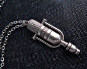 Microphone Necklace - Silver Vintage Style Music