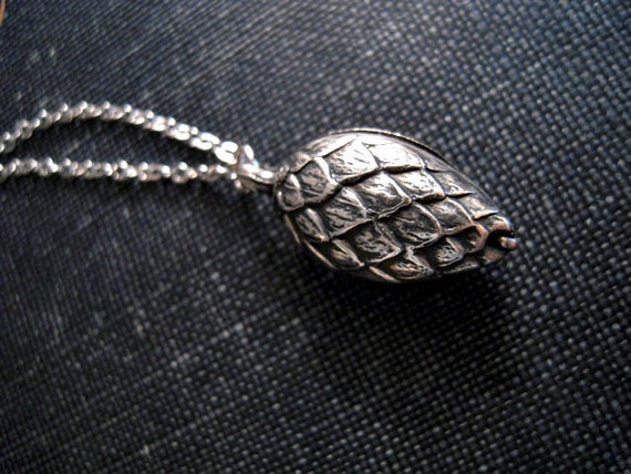 Pine Cone Necklace - Small Silver Pine Cone on Chain