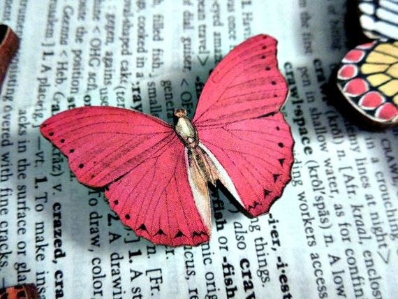 No. 2 Wooden Butterfly Magnet - One Red Color Laser Cut Insect