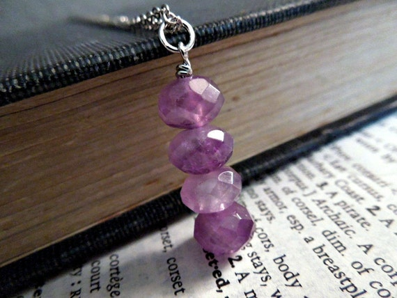 Natural Amethyst Rondelle Necklace -- Purple Color Beaded Gemstone Stick  Pendant on Silver Chain