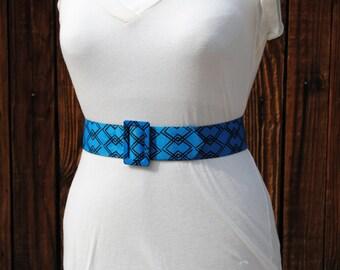 Vintage 1980's Electric Blue Graphic Design Belt