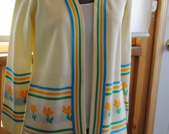 Vintage 1960's Cardigan Sweater with Retro Stripe and Floral Print