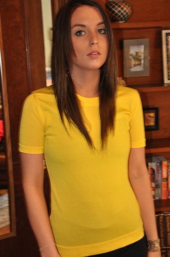 Vintage 1970's Sunshine Yellow Fitted T-shirt by David Smith
