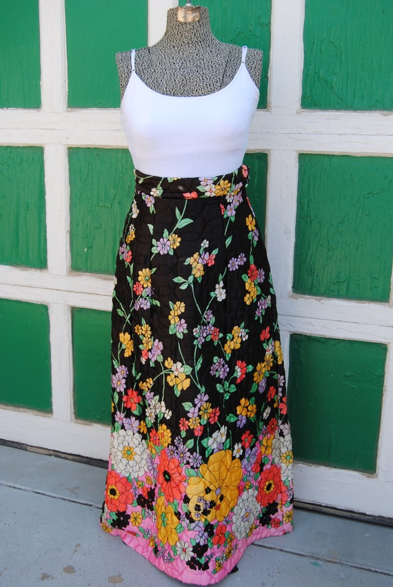 Vintage 1960's Maxi Skirt with Neon Flowers