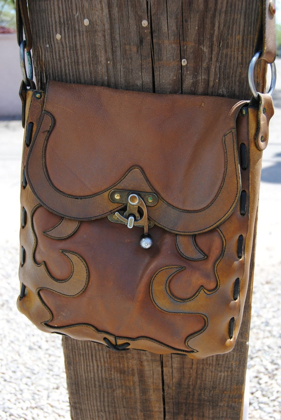 Reserved for Christina-1970's Vintage Southwest Saddle Style Leather Purse