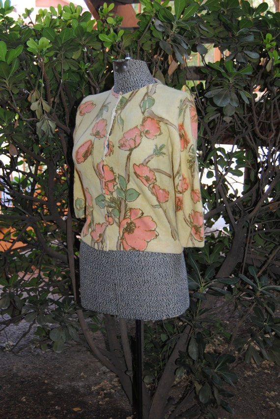 Vintage 1950's Cardigan Sweater with Pastel Colors, Hand Screen Print by Darlene