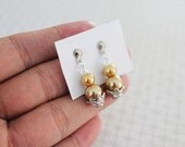 Belle Of The Ball - Handmade Vintage Inspired 3 Tiers Gold Pearl White Clear Crystal Bead Dangle Silver Tone Earrings
